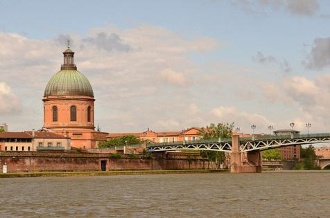 View of Toulouse, the dome of La Grave and the Garonne river